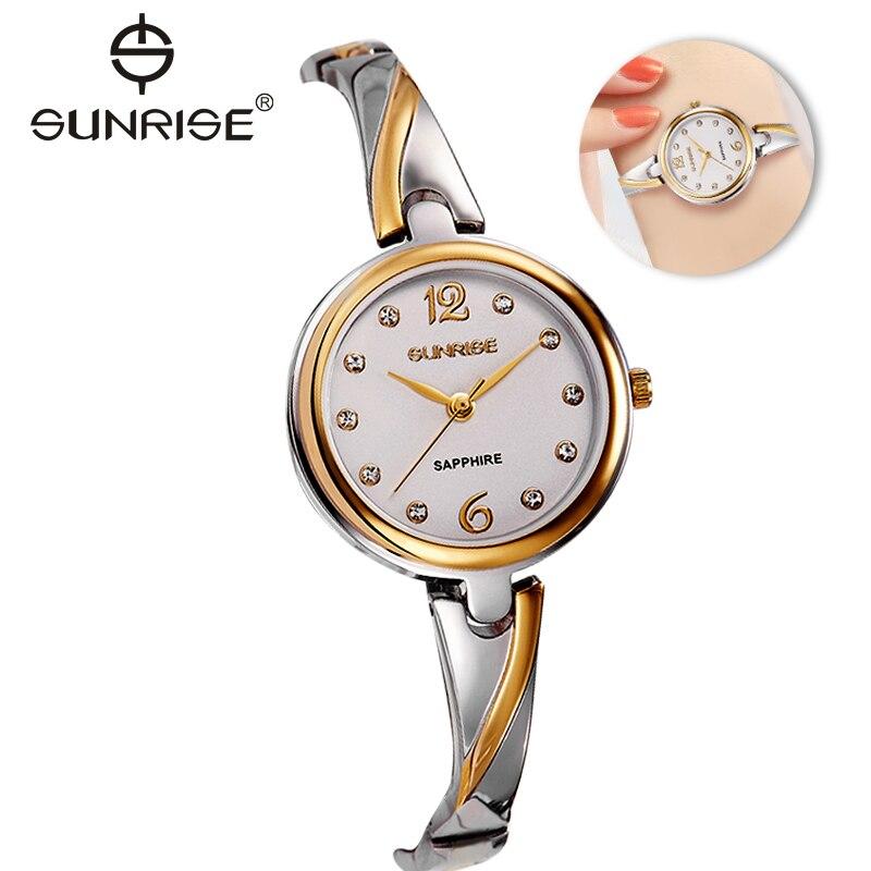 Zarif Kadın saatler Sunrise Ünlü marka kadınlar bilezik İzle moda Lüks Bayanlar ince kuvars bilek saatler relogio feminino