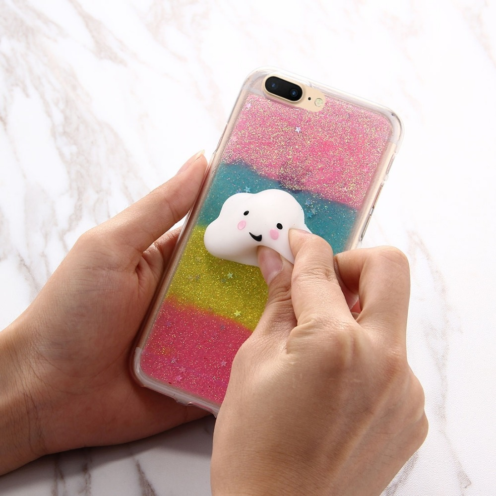 Iphone 6 squishy case - Squishy Phone Case For Iphone 7 Plus Glitter Powder Gradient Squeeze Relief 3d Cute Cloud Squishy