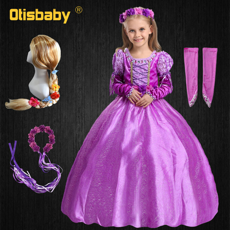 Christmas Fancy Girls Rapunzel Princess Dress Kids Sofia Party Girl Dress Baby Winter Aurora Children's Costume ankle Long Dress