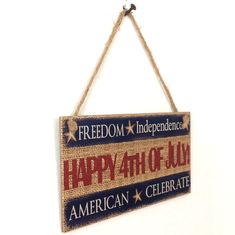 Image 2 - Rustic Wooden Hanging Plaque Sign Board American Independence Day Happy 4th Of July Room Wall Door Home Decoration Gift-in Plaques & Signs from Home & Garden