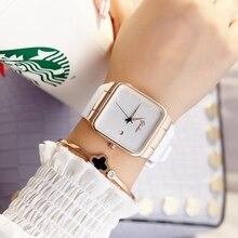 2017 Brand Women Watches Women Silicone Square reloj mujer Luxury Dress Watch Ladies Quartz Rose Gold Wrist Watch Montre Femme