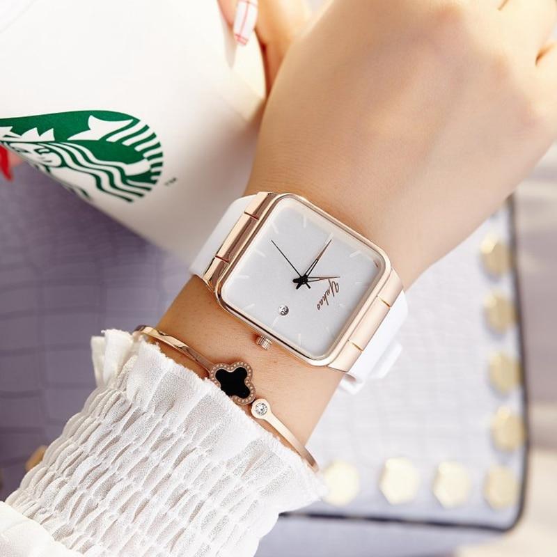 2018 mujeres de la marca relojes mujeres Square silicona reloj mujer de lujo señoras del reloj del cuarzo rosa reloj de oro montre femme