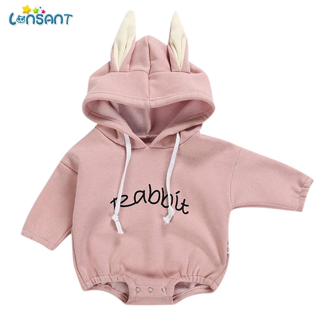 LONSANT Bodysuit Long Sleeve Letter Hooded Baby Clothes Bodys Ropa De Bebes New Born Baby Clothes Roupas Para Bebes N30