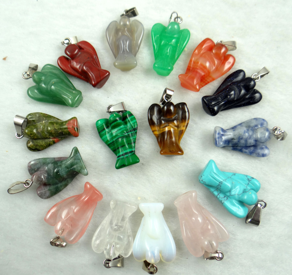 Natural Stone Quartz Crystal Lapis Turquoises Tiger Eye Angel Pendants For Diy Jewelry Making Necklace Accessories2pcs