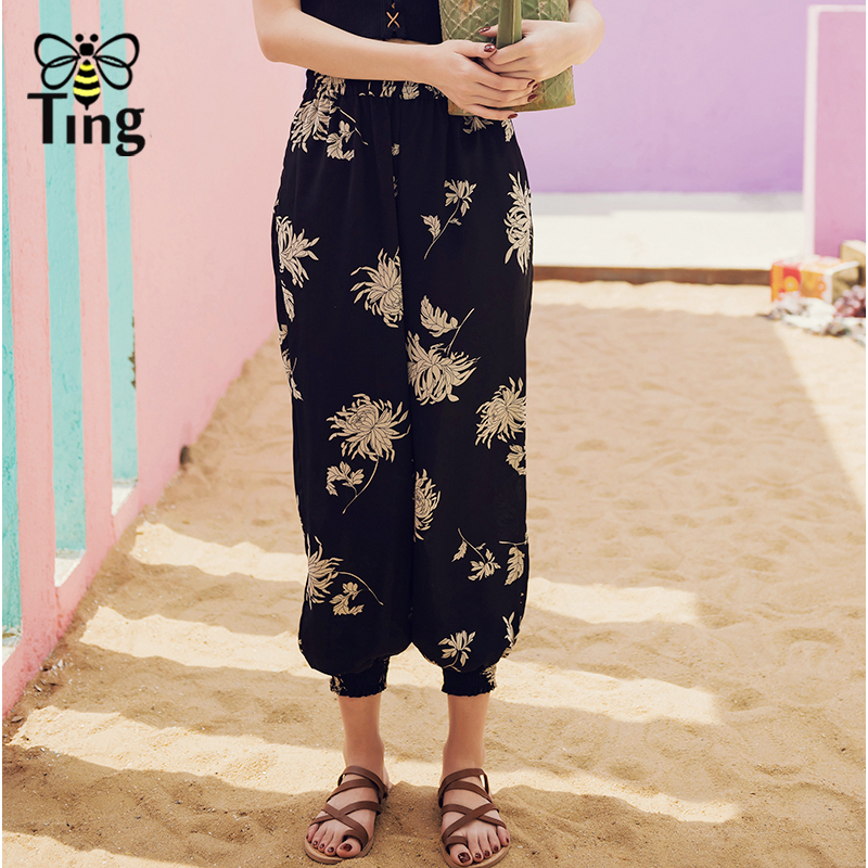 Tingfly floral print harem   pants     capris   Elastic waist loose casual   pants   women bottom summer trousers summer boho Beach   pants