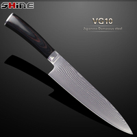 SHINE High Quality 8 Inch Damascus Kitchen Knife Japanese VG10 Steel Core Chef Knife Beauty Color