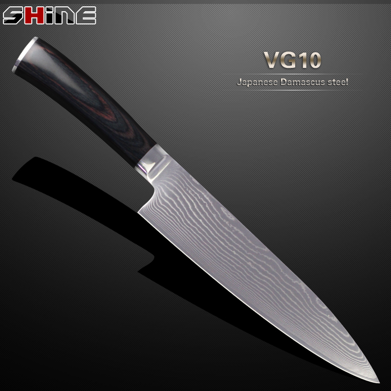 XYJ brand 8 inch damascus kitchen knife Japanese VG10 steel core chef knife beauty gift color wood handle 2016 cooking tools