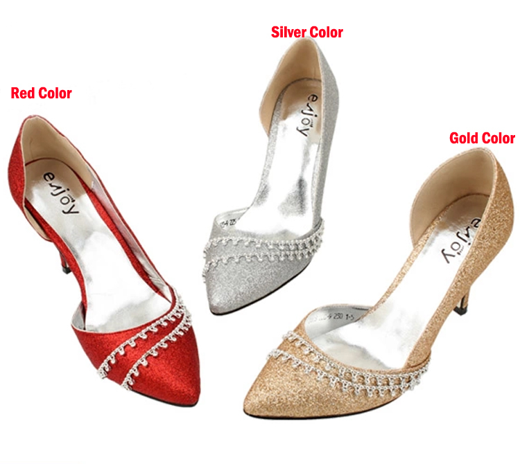 Spring Glitter Rhinestone Wedding Dress Shoes Champagne Color High Heel Pointed Toe Bridal Lady In Women S Pumps From On