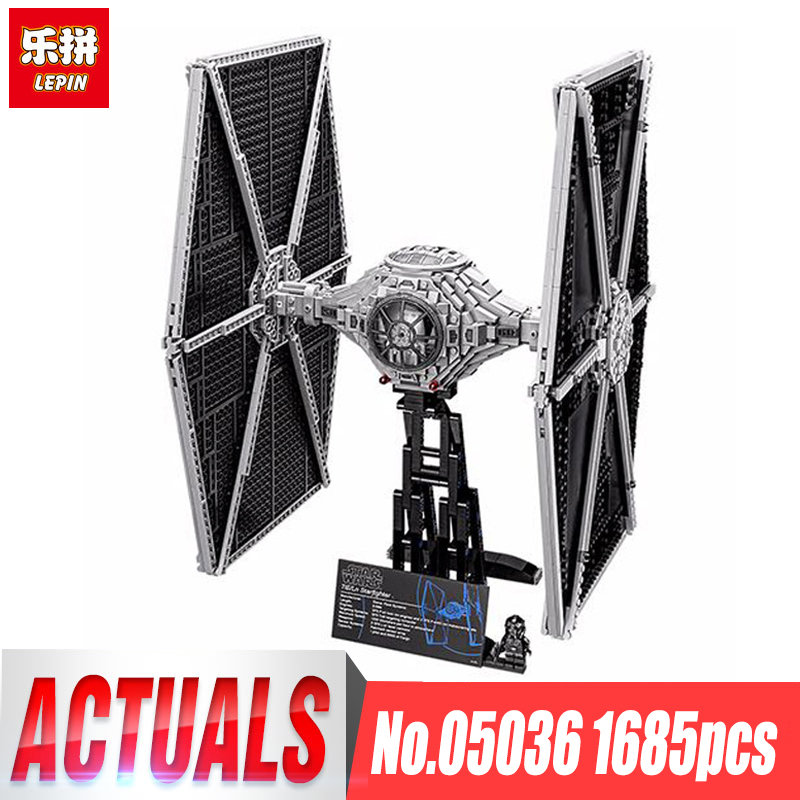 Lepin 05036 Star Series Wars Tie Toys Fighter Building Educational Blocks Bricks Compatible legoing 75095 Children boy Gifts lepin 05060 star series wars ucs naboo star type fighter aircraft model building blocks bricks compatible legoed 10026 toy gifts