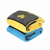 Hot Sale 70*100cm Cat Dog Bath Towel With Pockets Absorbent Pet Cleaning Towels Animal Blanket