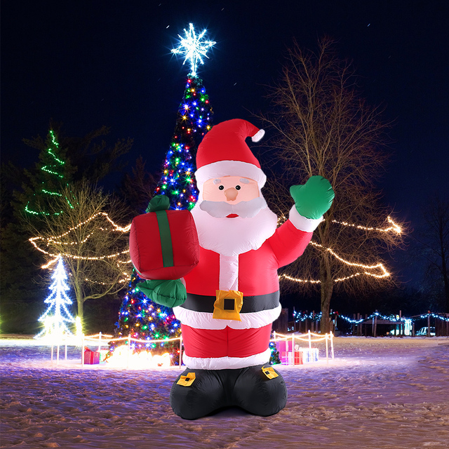 2.4m Tall Inflatable Christmas Santa Claus Cute X'mas Outdoor Decorations  Ornaments Outdoor Inflatable - 2.4m Tall Inflatable Christmas Santa Claus Cute X'mas Outdoor