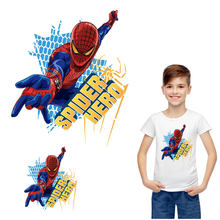 superhero spiderman iron on patches for clothing diy kid men marvel heat transfer on clothes logo American movie costume sticker(China)