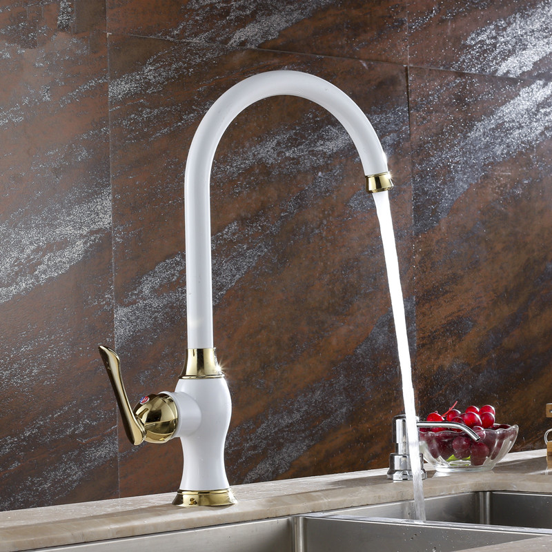 ФОТО Kitchen taps white paint gold faucet kitchen faucet hot and cold vegetables basin sink full copper kitchen faucet LX-2114