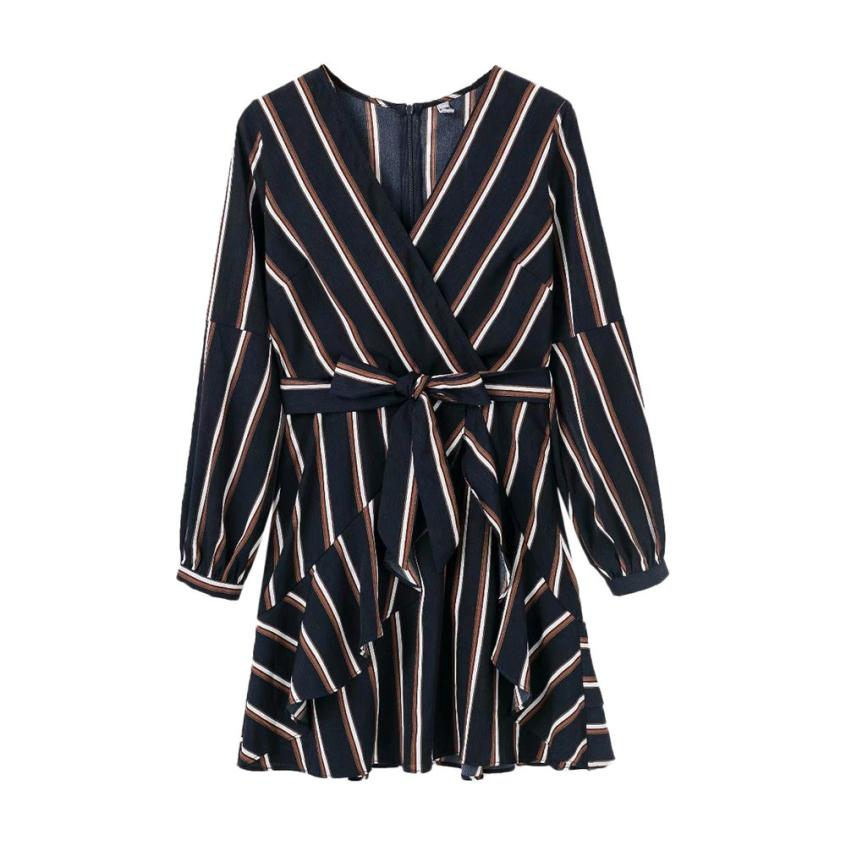 KANCOOLD Dress Women's Fashion Lantern Sleeve Casual Striped V-Neck Dress Casual Ruffle Mini Party Dress women 18AUG9 6