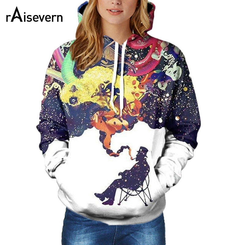 Hoodies & Sweatshirts Mr.1991inc New 2018 3d Hooded Sweatshirt Half Orc Smokes Men/women Space Galaxy Pullover Fashion Funny Hoodies Sweatshirts Pretty And Colorful