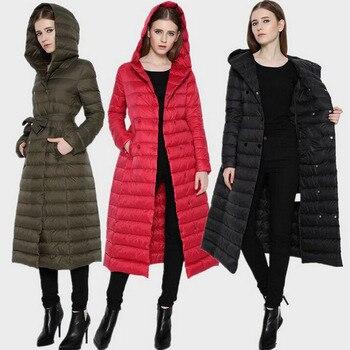 Europeu Mulheres Ultra Light Duck Down Soprador Jaqueta Extra Longo Inverno Parka Casaco com Capuz Trespassado Com Cinto Fino Outerwear