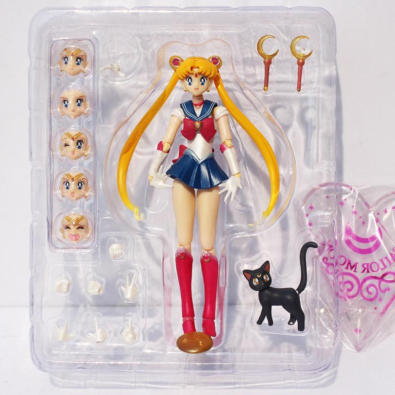 Sailor Moon Figure Tsukino Usagi PVC Action Figures Toy Collection Model Doll Toys Interchangeable Face 15cm Approx pop figurine collection toy figure model doll