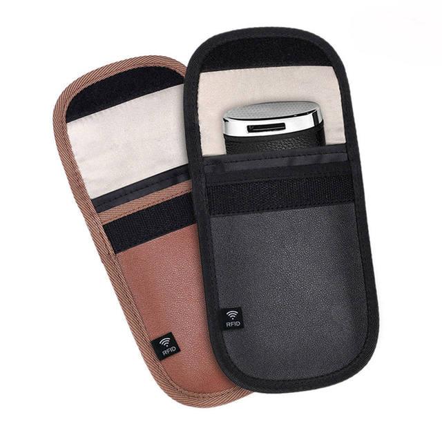 US $11 18 29% OFF|2pcs Signal Blocker Faraday Cage Shield Bag Car Key Fob  Signal Blocking Pouch Bag Anti theft Credit Cards RFID Protector-in Phone