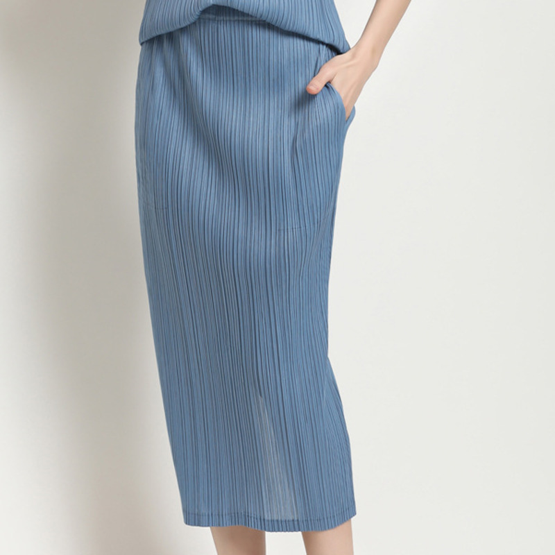 LANMREM 2020 Summer New Casual Fashion Temperament Women Loose Plus Pleated Solid Color Split Fork Skirt TC432