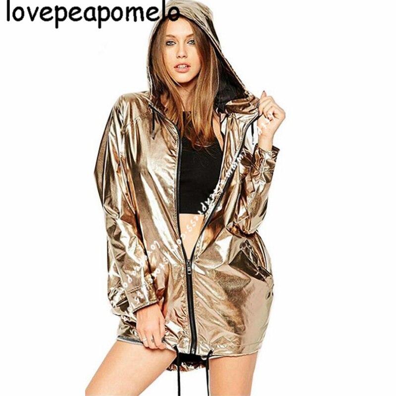 Women Clothing Autumn Winter Jacket Imitation Metal Outerwear Loose Jacket Zipper Hooded Long Sleeve Coat Female WindbreakerJ641