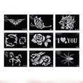Freeshipping 100Pcs Szie 80mm*110mm   Repeatable Template -Pro Body Art Deluxe Kit Stencil Paper Glitter Tattoo