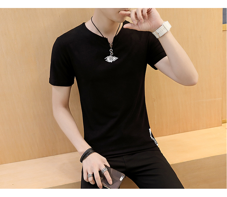 2018men's short-sleeved T-shirt round collar with pure color bottom shirt han version of the loose