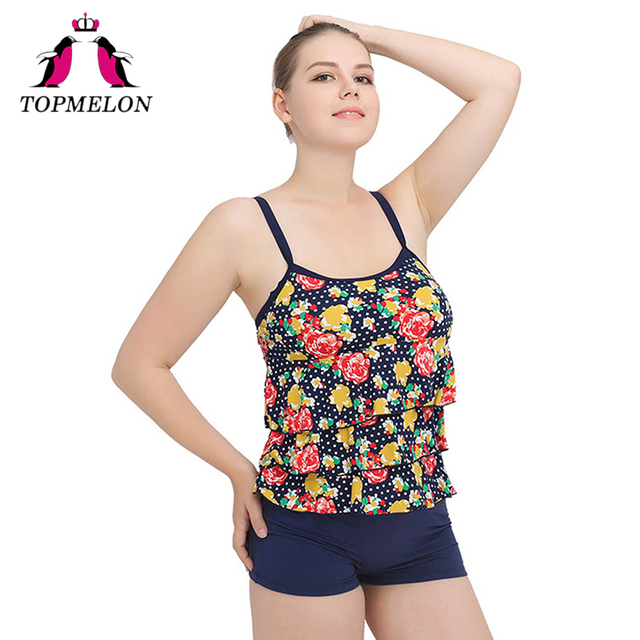 46de9dad385c TOPMELON Swimsuit Women Swimwear Plus Size Print Beach Wear Bathing Suit  Print Two Piece Sexy Swimwear High Waist Swimsuit 6XL