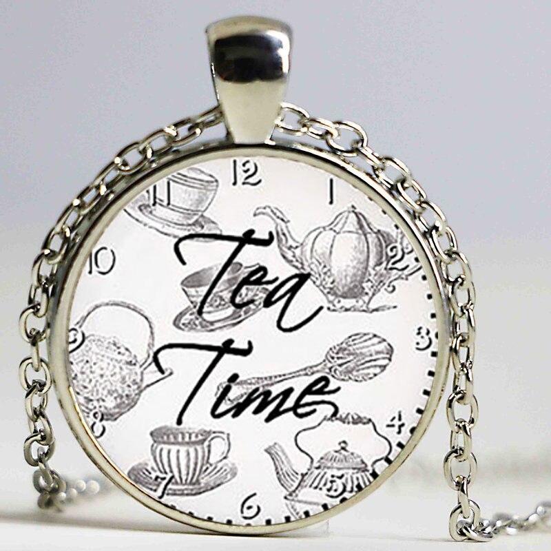 Herbal tea Tea time pendant Tea lover Glass Cabochon Bronze chain Necklace