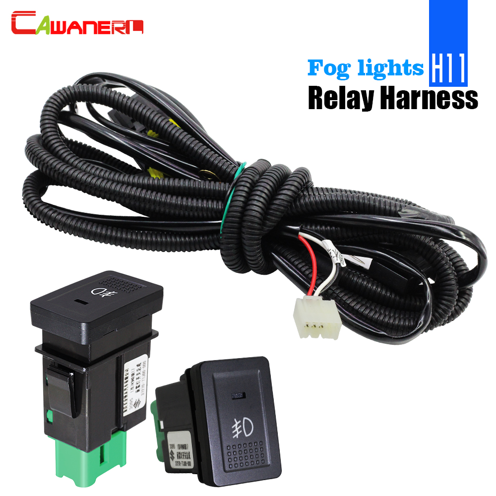 Cawanerl H11 Fog Light Harness Wiring Socket Wire + Switch With LED Indicator AT Relay For Suzuki Grand Vitara Swift Jimny Ignis