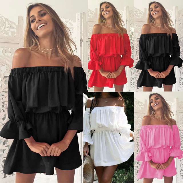 Women Flare Sleeve Off Shoulder Holiday Dress Ladies Loose Three Quarter Sleeve Summer Solid Dress Vestidos Elegant 2019 vestido