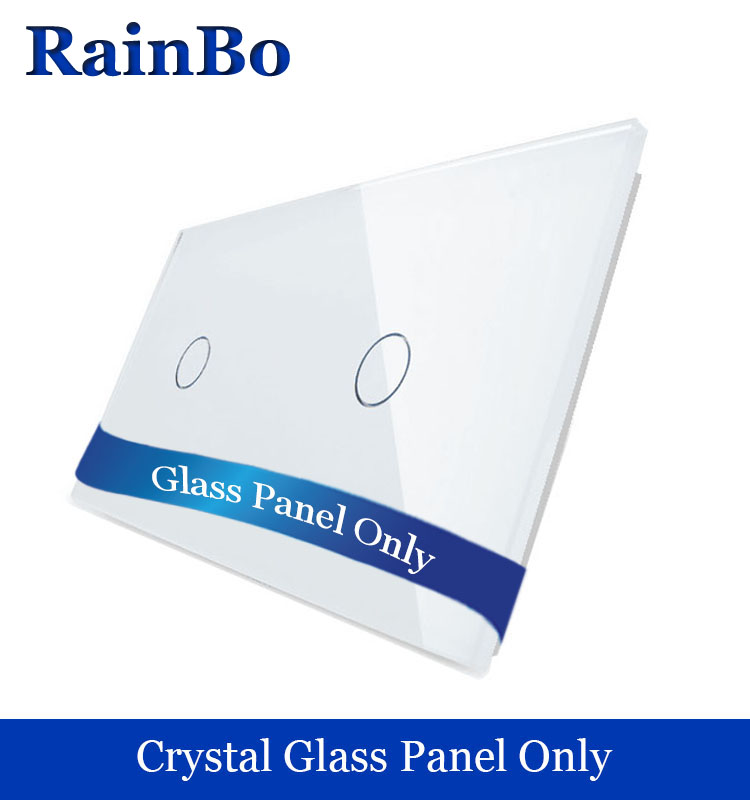 RainBo Free shipping Luxury Crystal Glass Panel 2 Frames Touch 2gang Wall Switch Panel EU Standard for DIY Accessories A2911W/B1 smart home uk standard crystal glass panel wireless remote control 1 gang 1 way wall touch switch screen light switch ac 220v