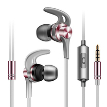 цены Line control earphones super bass Stereophonic smart noise reduction OX horn style design sport music HD voice metal material