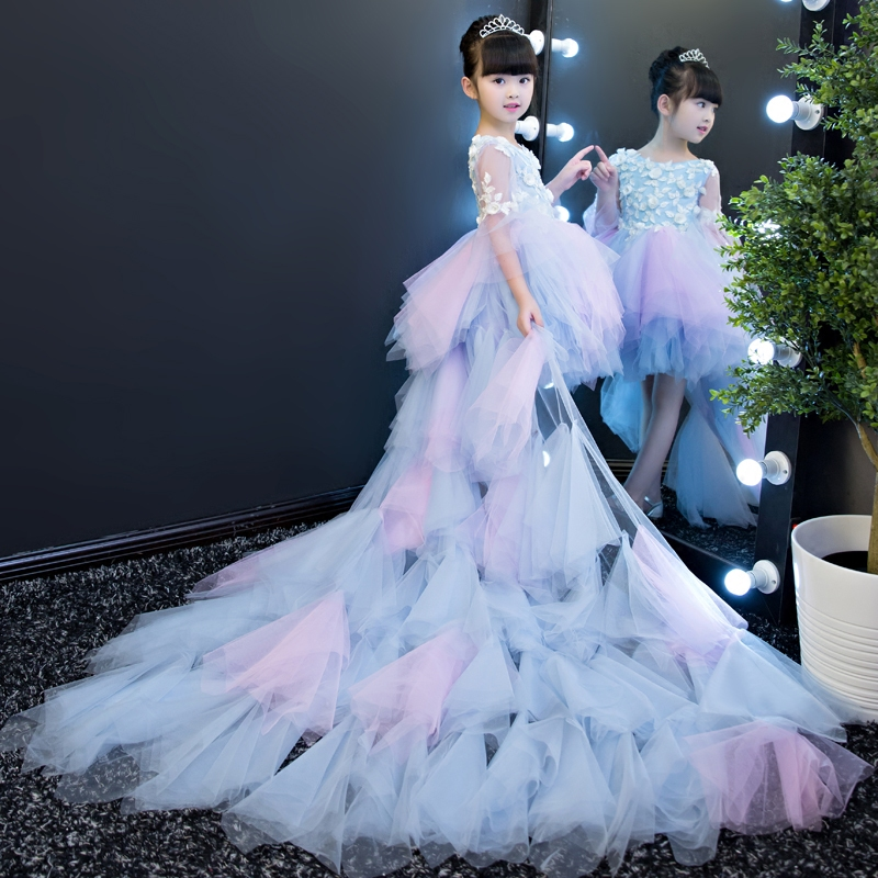 Floral Girls Gown Dress Evening Ball Gown Flower Girl Dresses Wedding Long Tailing Party Costume Kids Pageant Dress Birthday B78