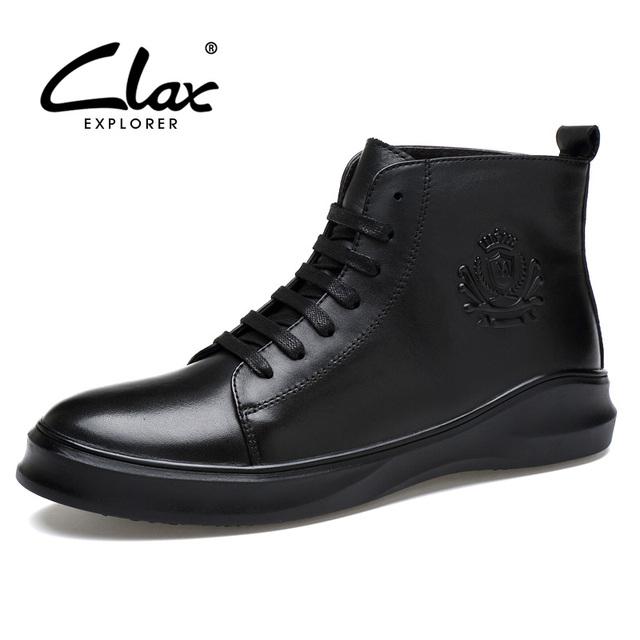 Clax Bota Homens Negros de Couro Genuíno Primavera Outono Ankle Boots Moda Sapatos De Grife Marca de Luxo dos homens