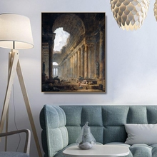 The Old Temple by Hubert Robert Wall Art Canvas Poster and Print Painting Decorative Picture for Living Room Home Decor