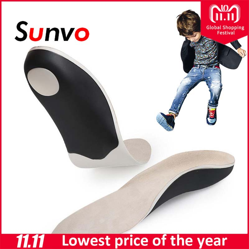 Sunvo Orthopedic Insoles For Children Kids Arch Support Insoles Flat Foot Flatfoot X/O Leg Orthotic Shoe Heel Pad Inserts size 41 46 eva flat foot orthotic insole arch support o x leg half shoe pad orthopedic insoles foot care for adult 021