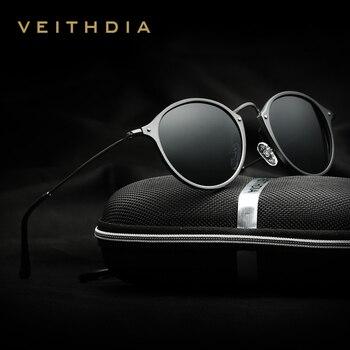 VEITHDIA ブランドファッションユニセックス偏光コーティングミラー駆動サングラスラウンド男性のための男性/女性 6358