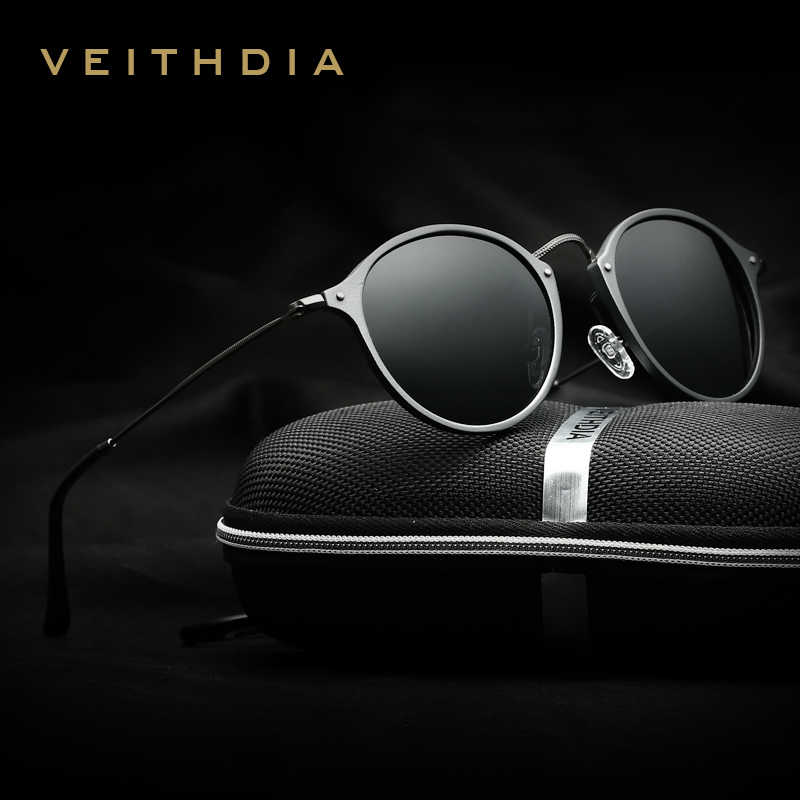 VEITHDIAแบรนด์แฟชั่นUnisexแว่นตากันแดดกระจกโพลาไรซ์เคลือบแว่นตากันแดดแว่นตาชายรอบชาย/หญิง6358