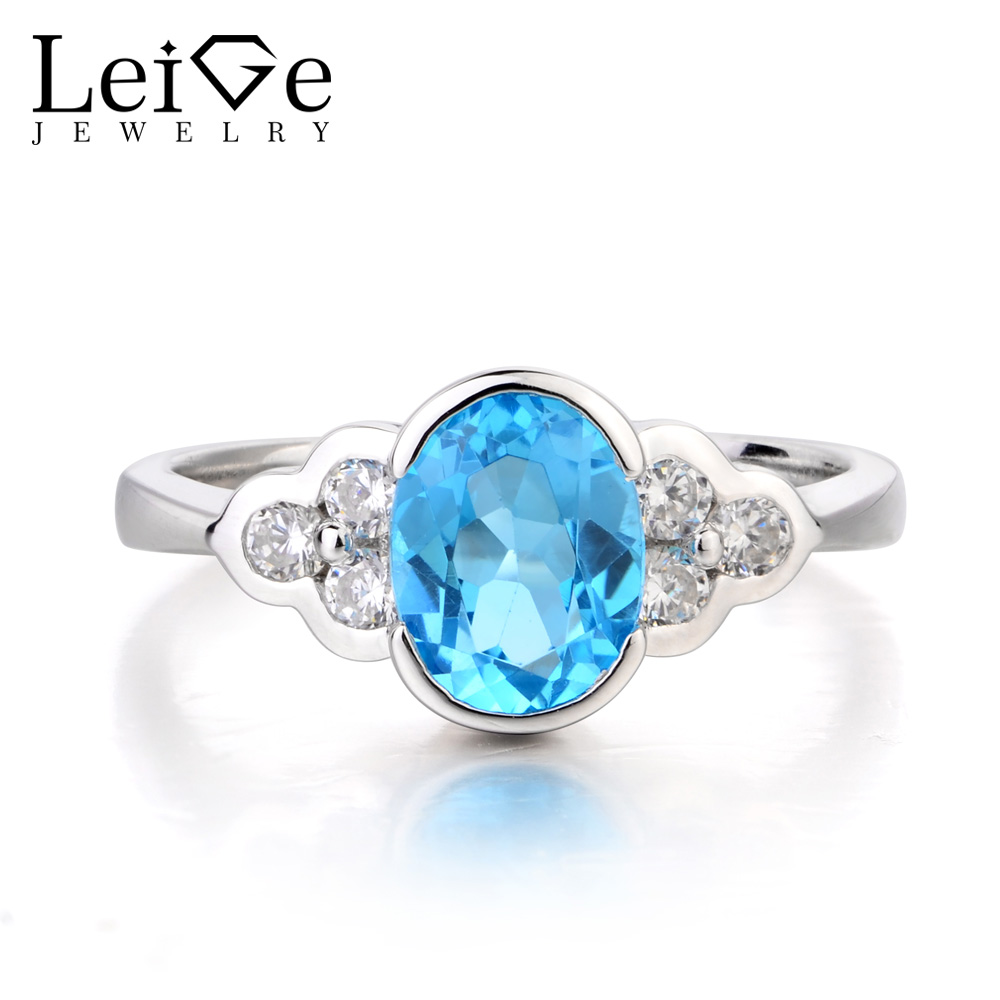Leige Jewelry Swiss Blue Topaz Ring Anniversary Ring November Birthstone Oval Cut Gemstone 925 Sterling Silver Gifts for Women