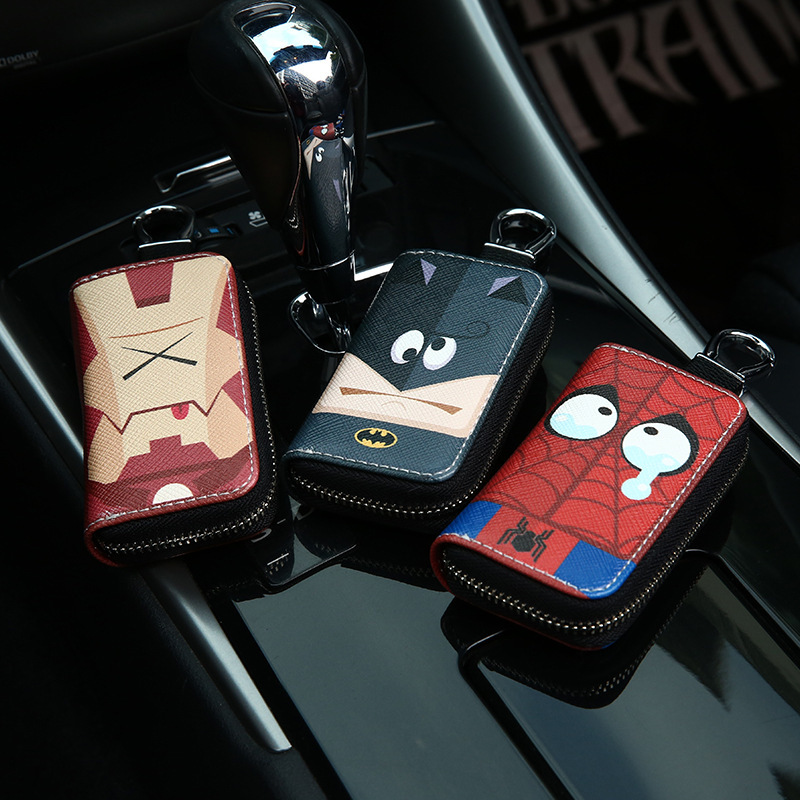 Cartoon Avengers Auto Key Bag Car Key Security Bag Car Remote Control Universal Key Case Key Case For Car Accessories