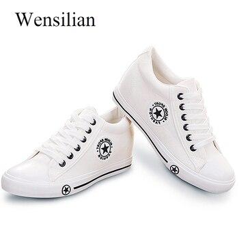 Vulcanizar Wedge Sapatilhas Sapatos Sapatas de Lona Ocasionais Das Sapatilhas Das Mulheres Verão Cesta Femme Feminino Denim Plana Zapatos Mujer Plus Size