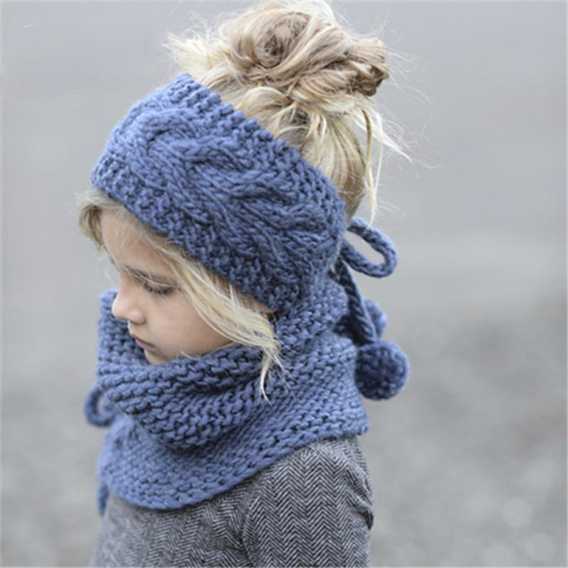 Clearance Fashion winter Woolen New Baby Knitting cap-Scarf Suits Children Keep Warm hat-scarft Suits