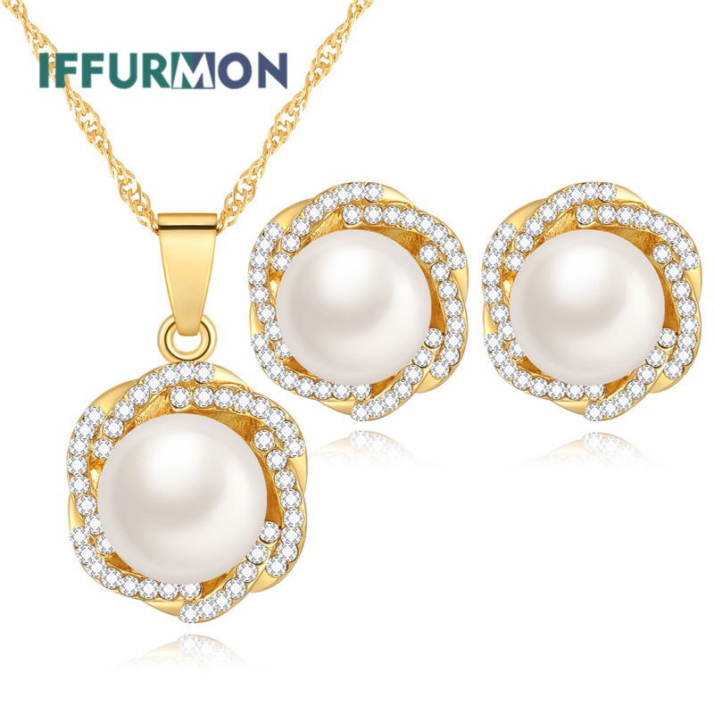 IFFURMON Women Jewelry Sets For Wedding Gold Color African Beads Jewelry Set Simulated Pearl Fashion Luxury Statement Sets