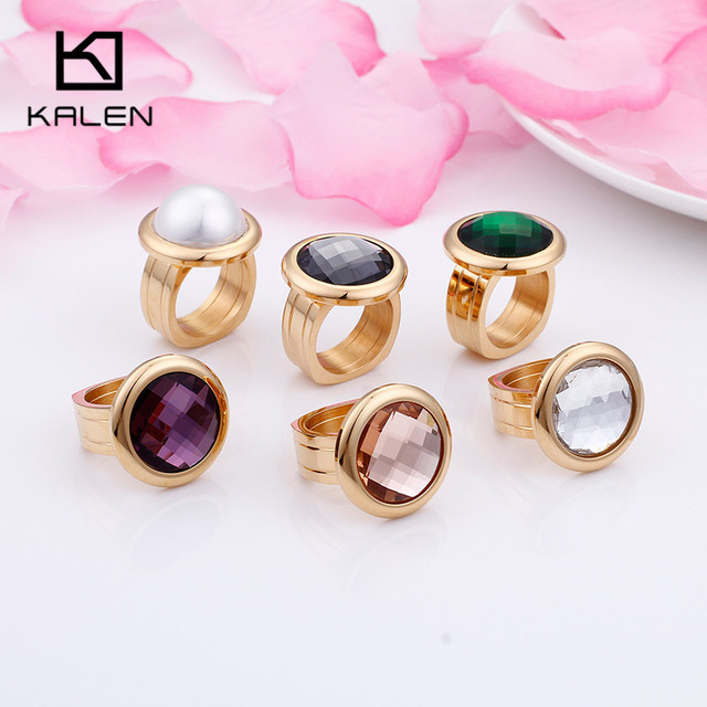 KALEN 2018 New Fashion Women Rings Bulgaria Gold Stainless Steel & Colorful Ston