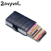 ZOVYOL PU Leather Credit Card Holder 2019 New Aluminium Doub