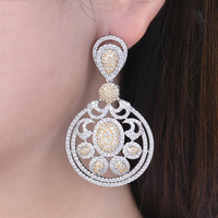 missvikki Earrings for Women Vintage round Big Earrings Cubic Zirconia Statement ear Jewelry Vintage Style Ladies Stage Show