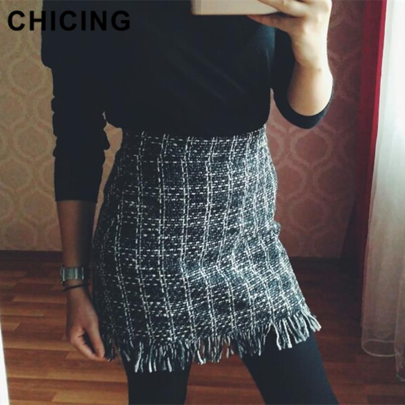 CHICING 2018 Women Woolen Mini Skirt Autumn Winter Vintage Straight Plaid Tassel Skater Skirt High Waist Femininas 1809038-in Skirts from Womens Clothing on Aliexpresscom  Alibaba Group