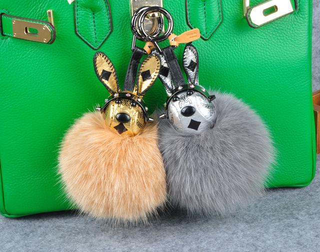 Pompón de Piel de Conejo de Conejo Con Fox Furry Cuero Real Llaveros Las Llaves del coche anillo Dominante Del Encanto Del Bolso Del Encanto Del Bolso Totalizador de Las Mujeres cadenas