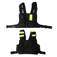 Universal Portable Green Reflective Single Or Double Walkie-talkie High-grade Tactical Chest bag interphone holer