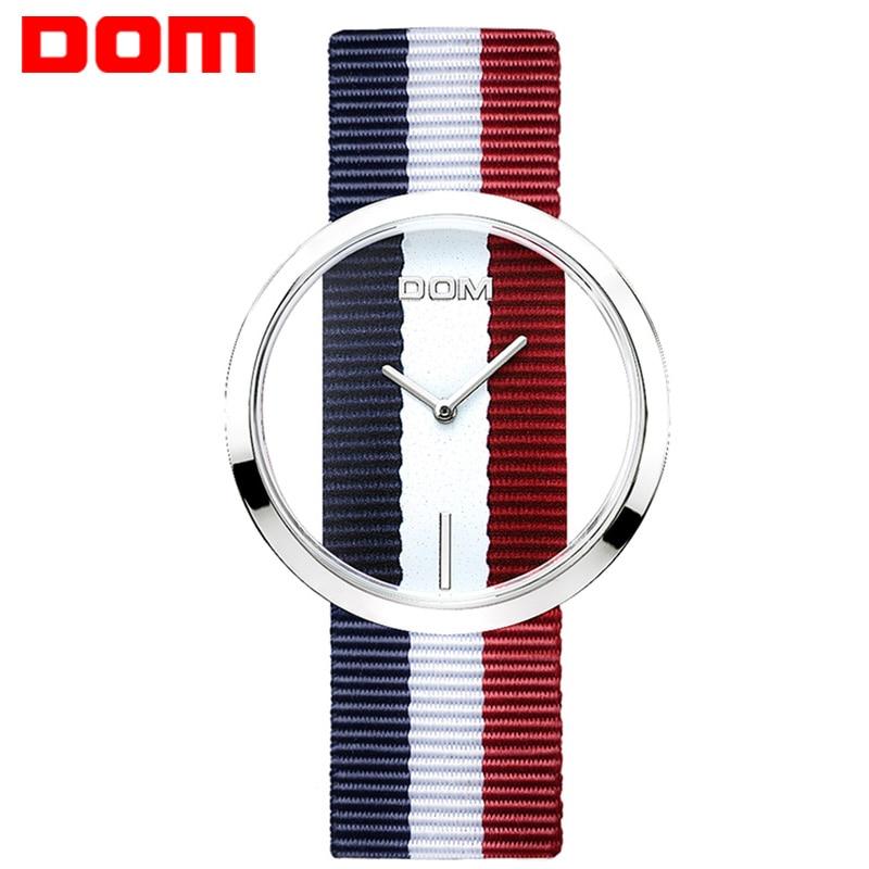 Женские часы DOM марка роскошные Мода Повседневная кварц Уникальный Стильный Полые скелет часы Нейлон спорт Леди наручные часы